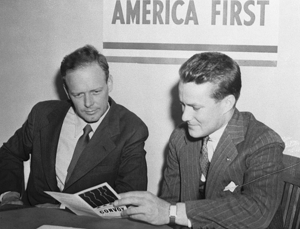 (Original Caption) Col. Charles A. Lindbergh, (left), with R. Douglas Stuart, Jr., National Director, when the flyer enrolled in Chicago as a member of the America First Committee.