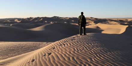 FELICITY, CA - NOVEMBER 17:  A U.S. Border Patrol agent stands atop a dune along the U.S.-Mexico border at the Imperial Sand Dunes on November 17, 2016 near Felicity, California. Border Patrol agents say they catch groups of illegal immigrants and drug smugglers crossing in from Mexico there daily, despite the forbidding terrain.  (Photo by John Moore/Getty Images)