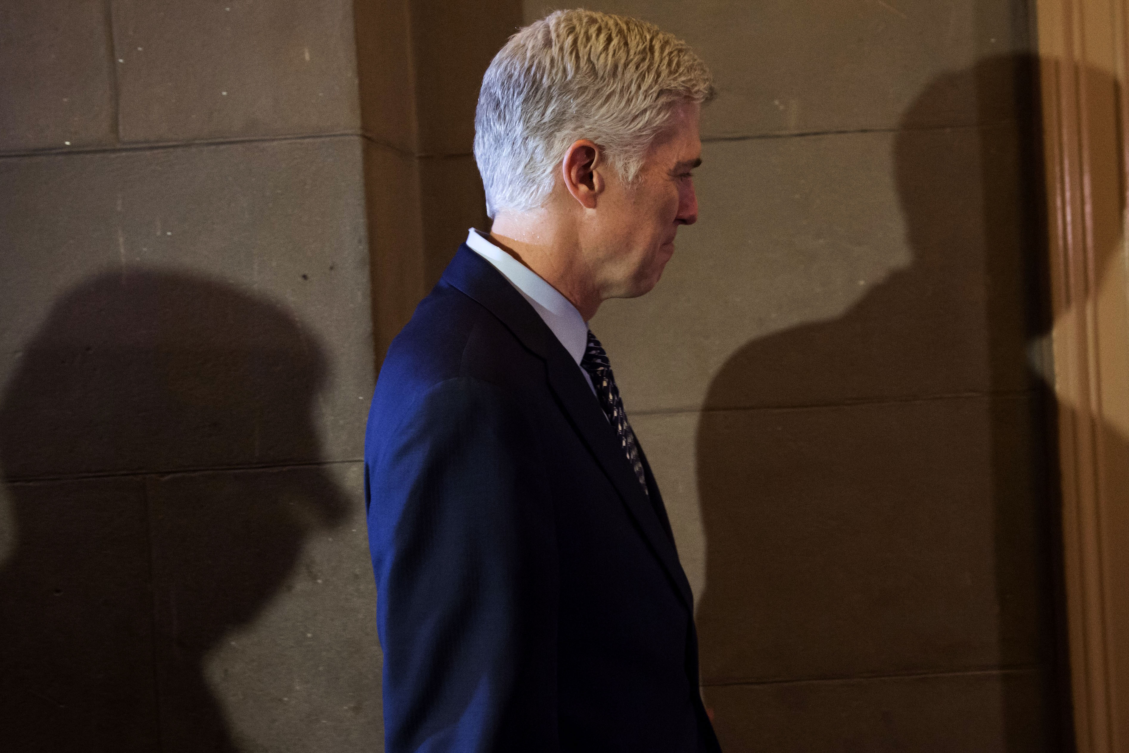 Supreme Court nominee Judge Neil Gorsuch arrives for a meeting at the US Capitol in Washington, DC, February 2, 2017. / AFP / SAUL LOEB        (Photo credit should read SAUL LOEB/AFP/Getty Images)