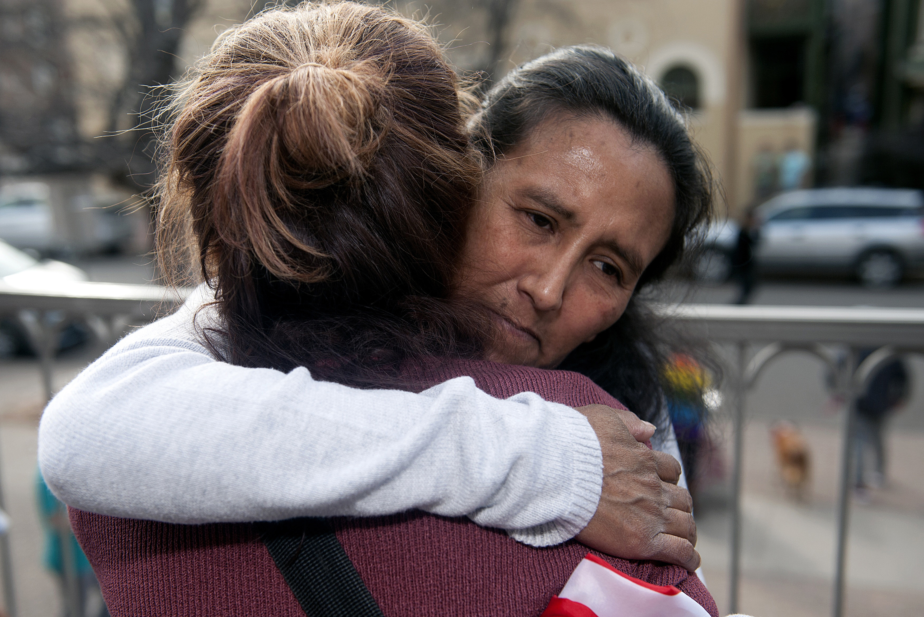 Jeanette Vizguerra, an undocumented Mexican mother of three US born children, embraces a supporter after speaking to the gathered crowd outside the First Unitarian Church in Denver, Colorado on February 18, 2017.<br /><br /><br /> Vizguerra has been living in the church basement since February 15th when she avoided a scheduled meeting with US Immigration and Customs Enforcement officials for fear of immediate detention and deportation. It is uncommon for US authorities to enter places of worship, schools and hospitals to deport undocumented immigrants.</p><br /><br /> <p> / AFP / Jason Connolly        (Photo credit should read JASON CONNOLLY/AFP/Getty Images)