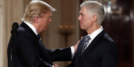 President Donald Trump shakes hands with 10th U.S. Circuit Court of Appeals Judge Neil Gorsuch, his choice for Supreme Court associate justice in the East Room of the White House in Washington, Tuesday, Jan. 31, 2017. (AP Photo/Carolyn Kaster)