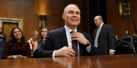 WASHINGTON, DC - JANUARY 18: Oklahoma Attorney General Scott Pruitt, President-elect Donald Trump's choice to head the Environmental Protection Agency, arrives for his confirmation hearing before the Senate Committee on Environment and Public Works on Capitol Hill January 18, 2017 in Washington, DC. Pruitt is expected to face tough questioning about his stance on climate change and ties to the oil and gas industry.   (Photo by Aaron P. Bernstein/Getty Images)
