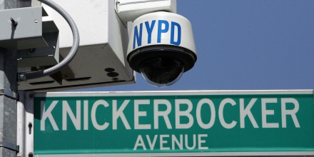 BROOKLYN, NY - APRIL 17:  A New York City Police Department wireless video recorder attached to a lamp post is seen on Knickerbocker Avenue April 17, 2006 in the Brooklyn borough of New York City. The set of cameras along Knickerbocker Ave. are the first installation of what will be 500 high-tech security cameras around the city. If the city receives $81.5 million in federal grants it plans on installing hundreds additionally in Lower Manhattan and midtown  (Photo by Mario Tama/Getty Images)