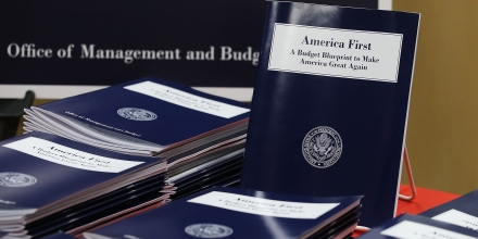 WASHINGTON, DC - MARCH 16: Copies of U.S. President Donald Trump's overview of budget priorities for FY2018, are on display at the Government Publishing Office (GPO) and the Office of Management and Budget, on March 16, 2017 in Washington, DC.  (Photo by Mark Wilson/Getty Images)