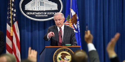 US Attorney General Jeff Sessions answers questions during a press conference at the US Justice Department on March 2, 2017, in Washington DC. / AFP PHOTO / Nicholas Kamm        (Photo credit should read NICHOLAS KAMM/AFP/Getty Images)