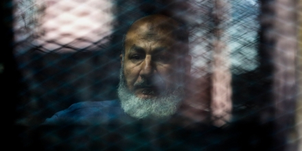 CAIRO, EGYPT - MARCH 5: Saffet Hijazi, one of the Muslim Brotherhood Leaders attends a trial session known as ''Bahr Al-Azam'' case at Cairo Police Academy in Egypt on March 5, 2017. (Photo by Fared Kotb/Anadolu Agency/Getty Images)
