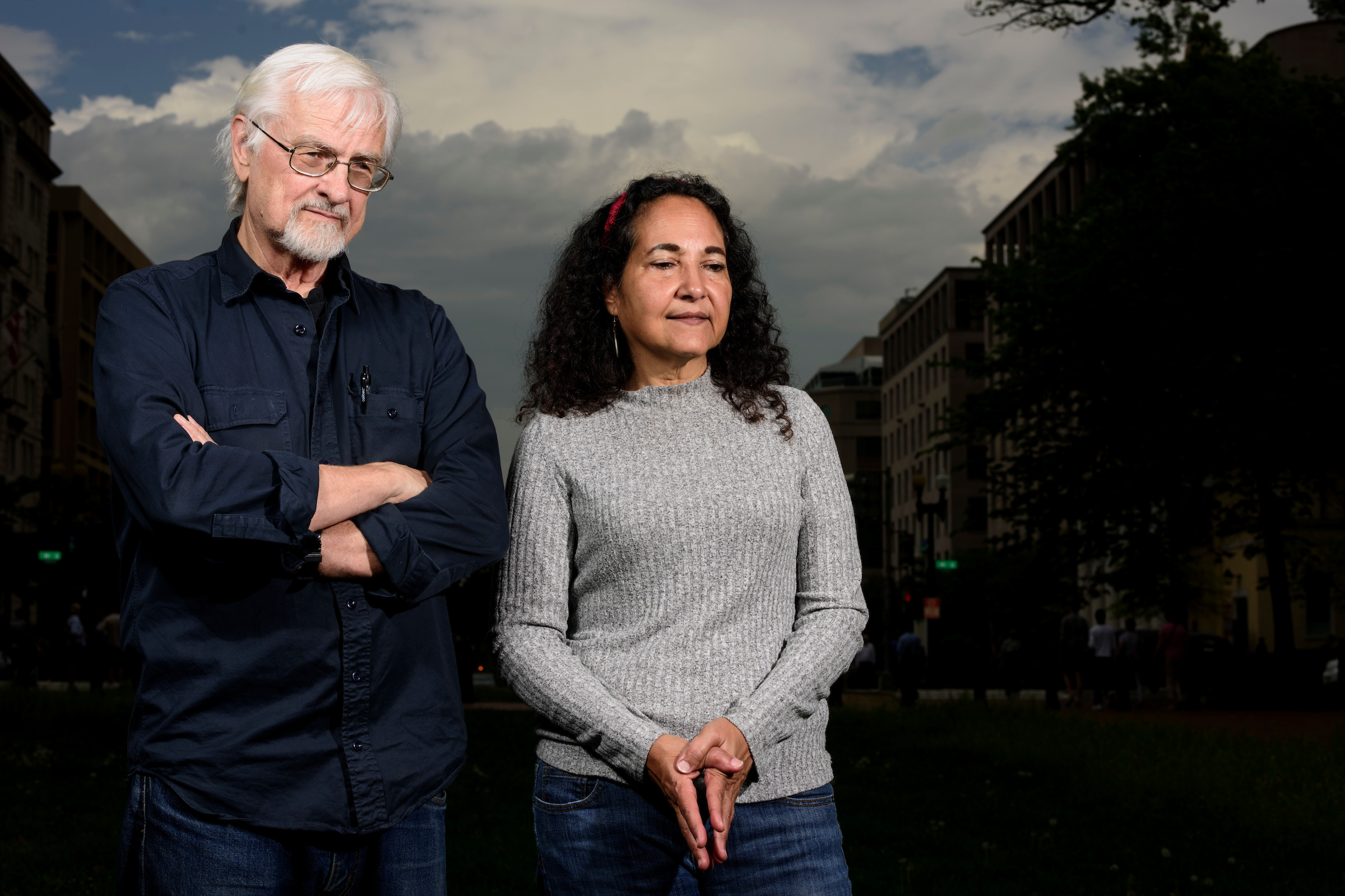 Washington, D.C. - April 21, 2017: John Vadermeer and Ivette Perfecto are both Ecologists at the University of Michigan. The married couple, photographed at Lafayette Square in Washington D.C. Friday April 21, 2017, are in Washington for the March for Science on Saturday.CREDIT: Matt Roth