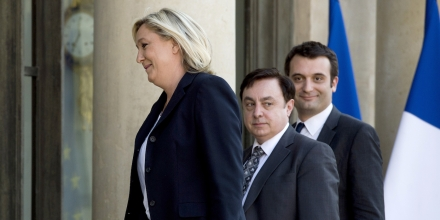 French far-right Front National (FN) party president Marine Le Pen (L), FN vice-presidents Jean-Fran?ois Jalkh (C) and Florian Philippot, arrive at the Elysee Palace for a meeting with French President on May 16, 2014 in Paris.   AFP PHOTO / ALAIN JOCARD        (Photo credit should read ALAIN JOCARD/AFP/Getty Images)