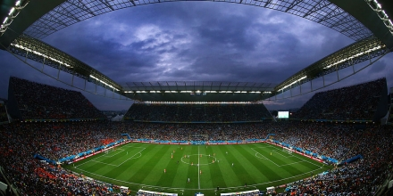 SAO PAULO, BRAZIL - JULY 09:  A general view of the stadium during the 2014 FIFA World Cup Brazil Semi Final match between the Netherlands and Argentina at Arena de Sao Paulo on July 9, 2014 in Sao Paulo, Brazil.  (Photo by Julian Finney/Getty Images)