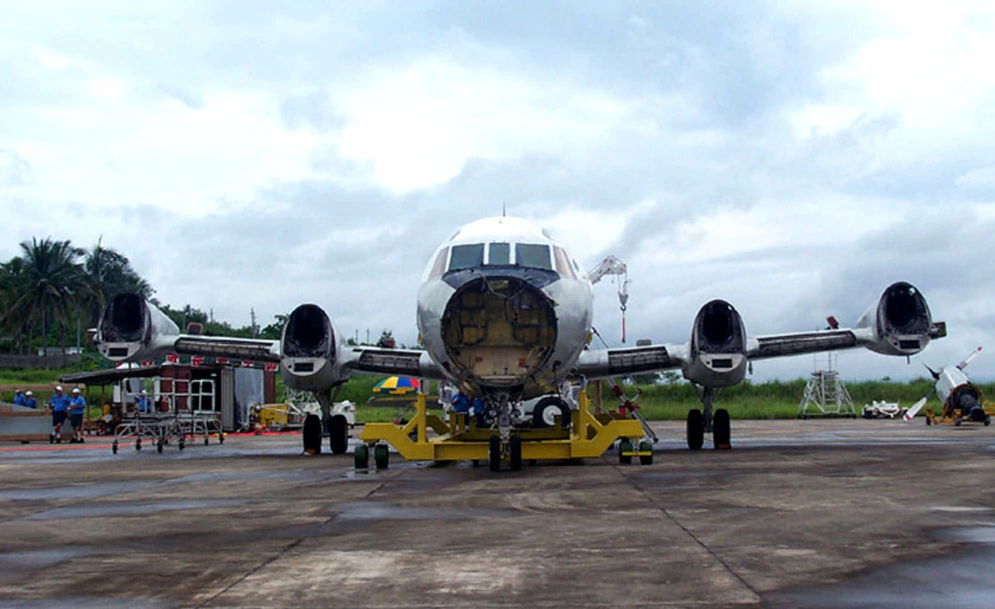 The Lockheed Martin Aeronautics Company's recovery team removed the four propeller-engine assemblies from the EP-3 on Saturday June 23, 2001. The recovery team is performing disassembly work on the EP-3 at Lingshui Airfield in preparation for its return to the United States. The disassembly process should be completed by July 4. (AP Photo/Lockheed Martin Aeronautics Co.,HO)