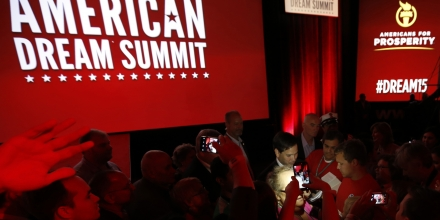Republican presidential candidate, Sen. Marco Rubio, R-Fla., greets supporters following his speech at the Defending the American Dream summit hosted by Americans for Prosperity at the Greater Columbus Convention Center in Columbus, Ohio, Saturday, Aug. 22, 2015. (AP Photo/Paul Vernon)
