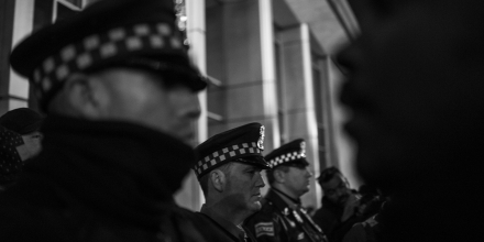 Upwards of 500 hundred people marched throughout downtown Chicago on Tuesday, November 24 to protest the police killing of Laquan McDonald at the hands of Chicago police officer Jason Van Dyke. McDonald was shot sixteen times and the video was withheld from public view until a judge ordred it released. McDonald was holding a small knife but was shot repeatedly in the dashcam video. The family was paid 5 million dollars in a settlement with the City of Chicago, but yesterday officer Van Dyke was also charged with murder after a whistleblower brought the video to the attention of a local journalist who then sued the city to have it released. The City of Chicago's Police Department has a long and difficult history associated with police brutality reaching back decades.