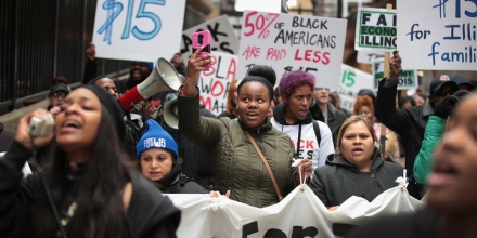 CHICAGO, IL - APRIL 04:  Demonstrators protest for higher wages and better working conditions on the 49th anniversary of the murder of Dr. Martin Luther King Jr. on April 4, 2017 in Chicago, Illinois. King, a clergyman and civil rights leader was killed in Memphis, Tennessee, on April 4, 1968 while in town supporting striking black city sanitation workers who had walked off their jobs to protest unequal wages and working conditions.  (Photo by Scott Olson/Getty Images)