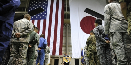 US Secretary of Defense Leon Panetta delivers a speech after arriving at the Yokota airforce base in Tokyo on October 24, 2011. Panetta met some 230 US and Japanese soldiers at the US air base after arriving from Indonesia.    AFP PHOTO / TOSHIFUMI KITAMURA (Photo credit should read TOSHIFUMI KITAMURA/AFP/Getty Images)