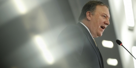 CIA Director Mike Pompeo speaks at the Center for Strategic and International Studies (CSIS) in Washington, Thursday, April 13, 2017. Pompeo  denounced WikiLeaks, calling the anti-secrecy group a