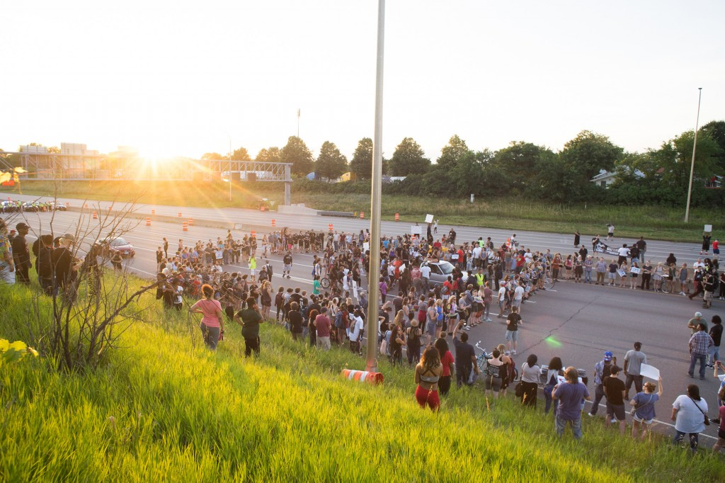 Black Lives Matter protesters shut down Interstate 94 to protest the police murder of Philando Castile in St. Paul, Minnesota, on July 9, 2016.