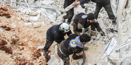 Syrian civil defence volunteers, known as the White Helmets, dig through the rubble of a mosque following a reported airstrike on a mosque in the village of Al-Jineh in Aleppo province on March 17, 2017.The US military says it carried out an air strike in northern Syria against an Al-Qaeda target, but denies deliberately targeting a mosque where dozens were killed according to the Syrian Observatory for Human Rights. / AFP PHOTO / Omar haj kadour (Photo credit should read OMAR HAJ KADOUR/AFP/Getty Images)