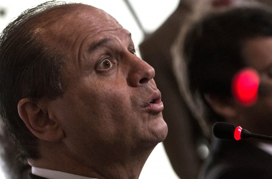 Brazilian Health Minister Ricardo Barros speaks during a press conference with foreign media at the Itamaraty Palace in Rio de Janeiro on June 10, 2016.Barros talked about Brazilian government's actions to combat mosquito Aedes Aegypti, transmitter of Zika Virus, 56 days before the beginning of the Rio 2016 Olympic Games. / AFP / VANDERLEI ALMEIDA (Photo credit should read VANDERLEI ALMEIDA/AFP/Getty Images)