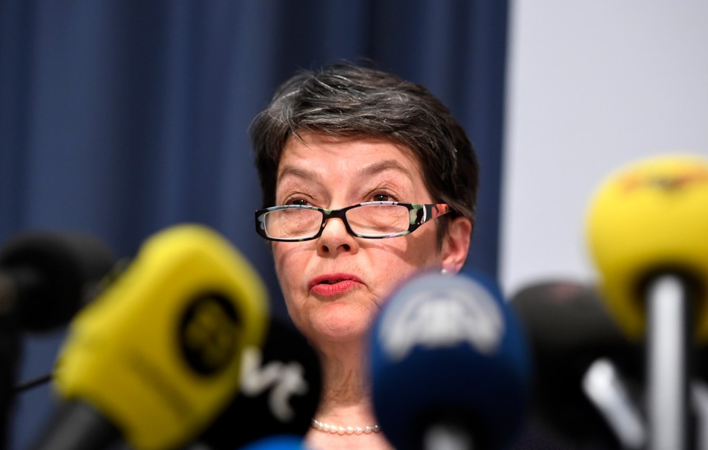 Chief prosecutor Marianne Ny speaks during a press conference in Stockholm on Friday May 19, 2017.  Sweden's top prosecutor said Friday she is dropping an investigation into a rape claim against WikiLeaks founder Julian Assange after almost seven years. (Maja Suslin/TT News Agency via AP)