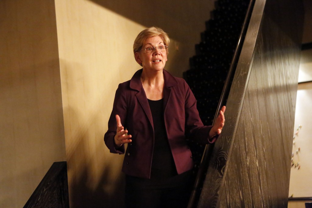 NEW YORK, NY - OCTOBER 23:  Elizabeth Warren, United States Senator speaks at Consumer Advocate Adam Levin hosts reception and talk with Senator Elizabeth Warren and Heather McGhee, President of Demos on October 23, 2015 in New York City. (Photo by Thos Robinson/Getty Images for Seven Squared Media)