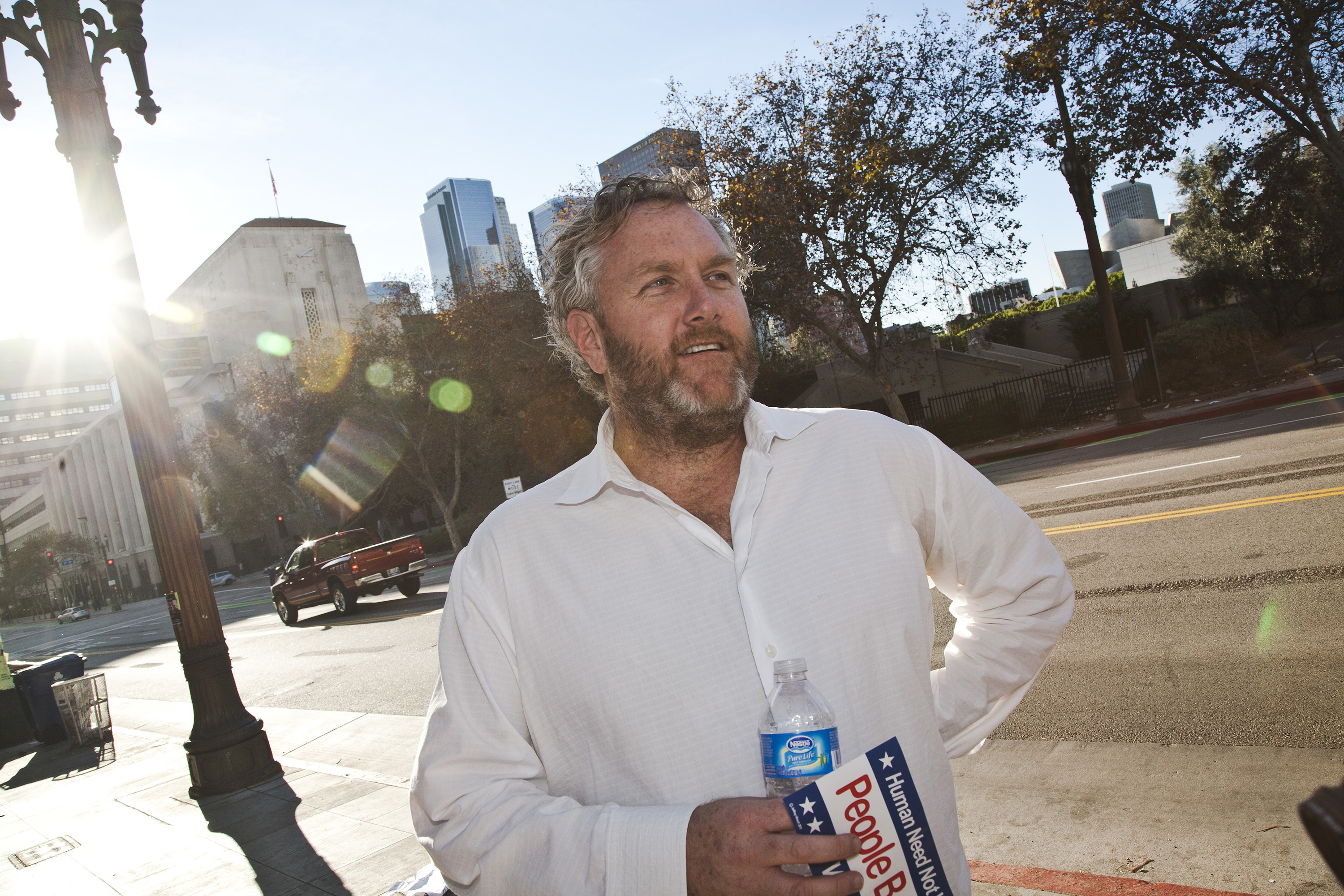 Conservative blogger Andrew Breitbart at the Occupy L.A. site. He was interviewing occupiers for his blog and TV program. (Photo by Ted Soqui/Corbis via Getty Images)