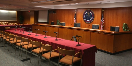 WASHINGTON, DC - FEBRUARY 26: The hearing room at the Federal Communications Commission headquarters February 26, 2015 in Washington, DC. Today the Commission will vote on Internet rules, grounded in multiple sources of the Commissions legal authority, to ensure that Americans reap the benefits of an open Internet.  (Photo by Mark Wilson/Getty Images)
