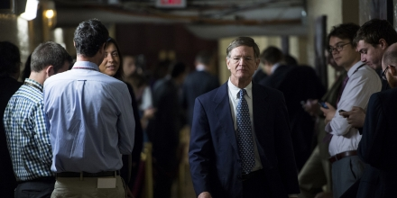 UNITED STATES - OCTOBER 4: Rep. Lamar Smith, R-Texas, leaves the House Republican Conference meeting in the basement of the Capitol on Friday, Oct. 4, 2013.  (Photo By Bill Clark/CQ Roll Call) (CQ Roll Call via AP Images)