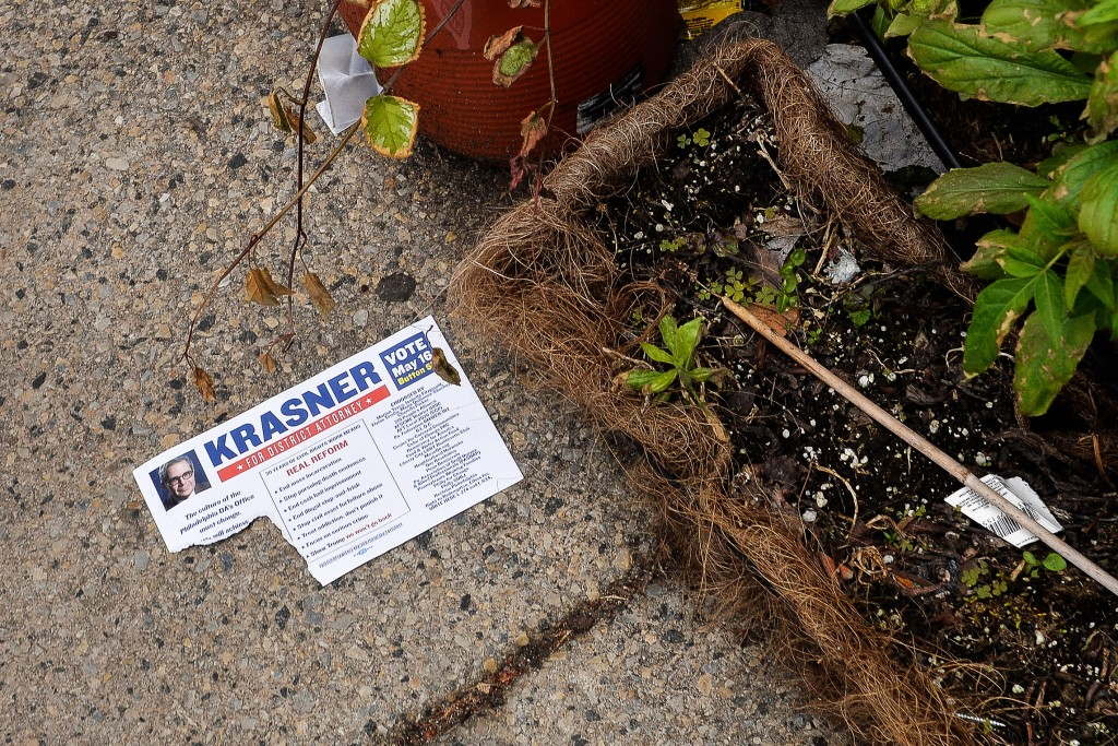 A flyer for District Attorney candidate Lawrence Krasner on the ground in South Philadelphia,Thursday, May 11, 2017.<br /><br /><br /><br /><br /><br /><br /><br /> Charles Mostoller for the Intercept