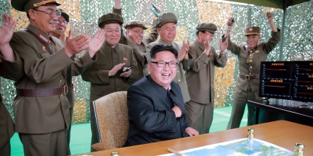 This undated picture released from North Korea's official Korean Central News Agency (KCNA) on June 23, 2016 shows North Korean leader Kim Jong-Un (C) inspecting a test of the surface-to-surface medium long-range strategic ballistic missile Hwasong-10 at an undisclosed location in North Korea.The Musudan -- also known as the Hwasong-10 -- has a theoretical range of anywhere between 2,500 and 4,000 kilometres (1,550 to 2,500 miles). / AFP / KCNA VIA KNS / KCNA / South Korea OUT / REPUBLIC OF KOREA OUT ---EDITORS NOTE--- RESTRICTED TO EDITORIAL USE - MANDATORY CREDIT