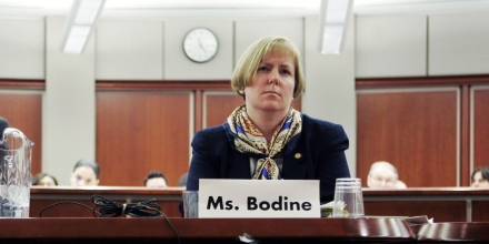 Larry Stanton, left, of Department of Homeland Security and Susan Bodine, right, with the Environmental Agency listen to remarks from Sen. Frank Lautenberg, D-N.J., during a hearing about chemical plant security in Newark, N.J., Monday, March 19, 2007. Elected officials from New Jersey on Monday criticized a Bush administration proposal they said would weaken state laws designed to make chemical plants less of a target for terrorists. (AP Photo/Mike Derer)