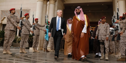 US Defence Secretary James Mattis bids farewell to Saudi Deputy Crown Prince Mohammed bin Salman (C-R) following their meeting in Riyadh on April 19, 2017.  / AFP PHOTO / POOL / JONATHAN ERNST        (Photo credit should read JONATHAN ERNST/AFP/Getty Images)