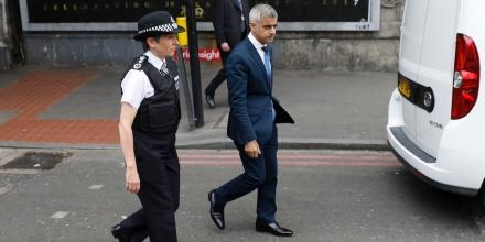 Mayor of London Sadiq Khan (R) and Metropolitan Police Commissioner Cressida Dick (L) walk together after visiting Borough High Street in London on June 5, 2017, the site of the June 3 terror attack, near to Borough Market.British police on Monday made several arrests in two dawn raids following the June 3 London attacks, claimed by the Islamic State group which left seven people dead. / AFP PHOTO / Odd ANDERSEN (Photo credit should read ODD ANDERSEN/AFP/Getty Images)