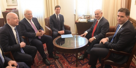 JERUSALEM, ISRAEL - JUNE 21:  (ISRAEL OUT) In this handout photo provided by the Israel Government Press Office (GPO), Israel's Prime Minister Benjamin Netanyahu meets with Jared Kushner on June 21, 2017 in Jerusalem, Israel. (Photo by Amos Ben Gershom/GPO via Getty Images)