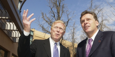 WASHINGTON - MARCH 25:  Congressman Dick Gephardt (D-MO) (L) and Democratic National Committee Chairman Terry McAuliffe (R) discuss the  newly remolded Democratic National Committee building which opened today March 25, 2004 in Washington, D.C. Dignataries at the ribbon cutting cerimony included DNC Hairman Terry McAuliffe, Senator Tom Daschle (D-SD), Congresswoman Nancy Pelosi (D-CA), Deligate Elinore Holms-Norton (D-DC), Democratic  Govenor of New Mexico Bill Richardson and D.C. Mayor Anothy Williams.  (Photo by Mannie Garcia/Getty Images) *** Local Caption *** Dick Gephardt;Terry McAuliffe