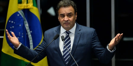 Opposition leader Senator Aecio Neves speaks during the senate impeachment trial of Brazilian suspended President Dilma Rousseff at the National Congress in Brasilia on August 30, 2016. Brazilian senators engaged in marathon debate Tuesday on the eve of voting on whether to strip Dilma Rousseff of the presidency and end 13 years of leftist rule in Latin America's biggest country. / AFP / ANDRESSA ANHOLETE (Photo credit should read ANDRESSA ANHOLETE/AFP/Getty Images)