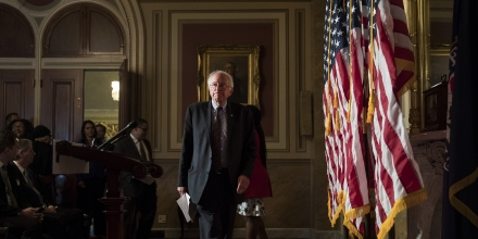 WASHINGTON, DC - MAY 25: Sen. Bernie Sanders (D-VT) arrives for a press conference to discuss legislation for a 15 dollar minimum wage, on Capitol Hill, May 25, 2017 in Washington, DC. 31 Democrats have pledged to support the legislation so far. (Photo by Drew Angerer/Getty Images)