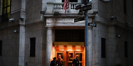 A trader leaves the New York Stock Exchange after the closing bell on January 7, 2016. US stocks tumbled Thursday as another big drop in Chinese stocks spurred more worries about the world's second-largest economy and triggered another wave of selling across global equity markets. The Dow Jones Industrial Average fell 392.41 points (2.32 percent) to 16,514.10. The broad-based S&P 500 shed 47.17 (2.37 percent) to 1,943.09, while the Nasdaq Composite Index sank 146.34 (3.03 percent) to 4,689.43. For the second time in four days, trading in China was halted early after the benchmark Shanghai index fell seven percent. Moves by the Chinese central bank to weaken the yuan currency have rattled investors.  AFP PHOTO / TIMOTHY A. CLARY / AFP / TIMOTHY A. CLARY        (Photo credit should read TIMOTHY A. CLARY/AFP/Getty Images)