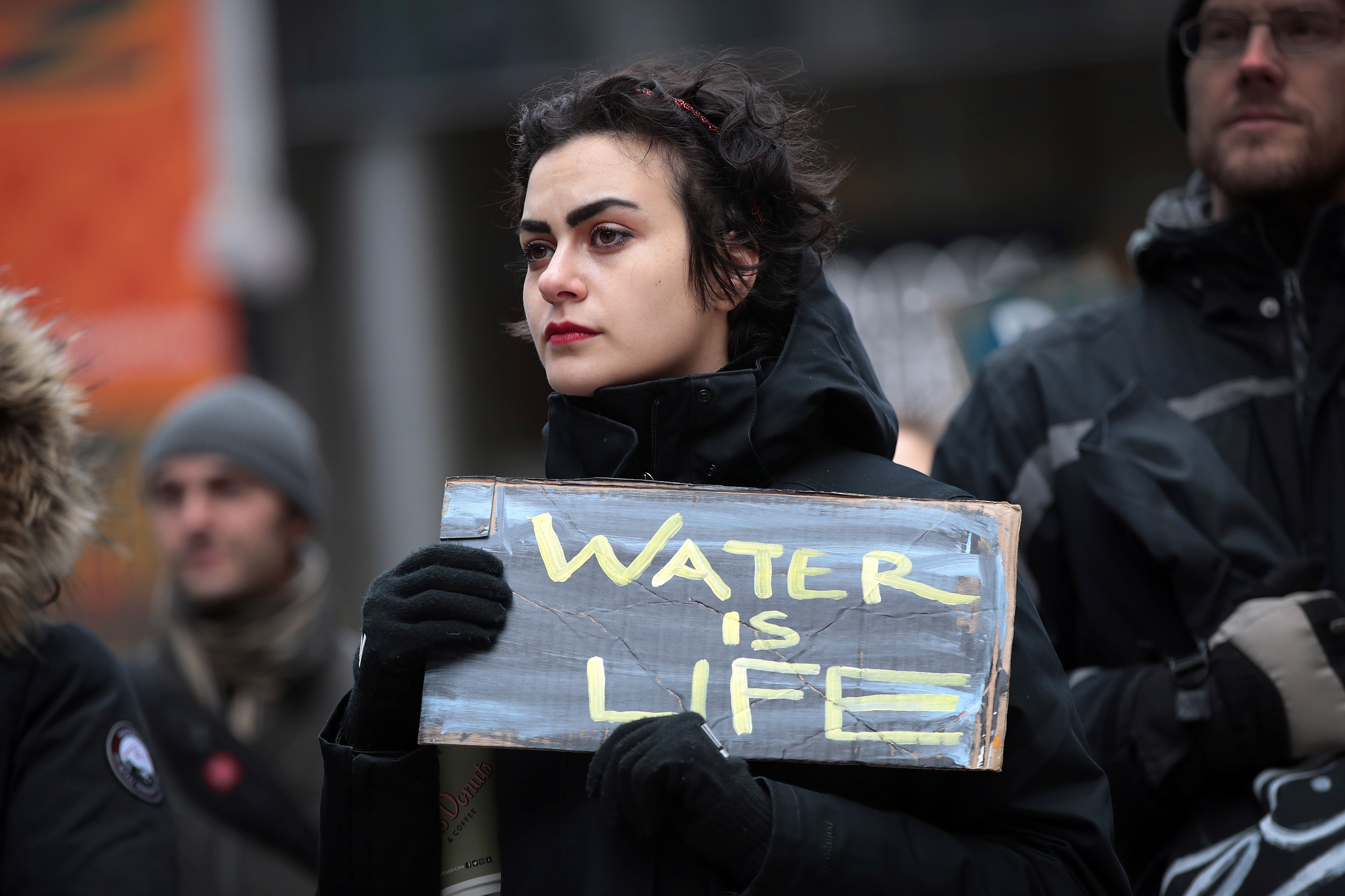 CHICAGO, IL - FEBRUARY 04:  Demonstrators rally downtown before marching to Trump Tower while protesting the construction of the Dakota Access pipeline on February 4, 2017 in Chicago, Illinois. President Donald Trump recently signed executive actions to advance approval of Dakota Access and the Keystone XL pipelines, undermining efforts by the administration of President Barack Obama to block their construction.  (Photo by Scott Olson/Getty Images)