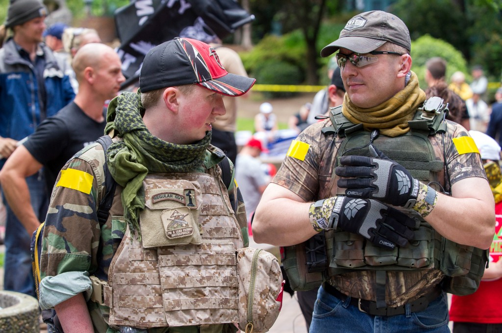 PORTLAND, OR - JUNE 04:  Members of a security detachtment at the pro-Trump Freedom Rally at Terry Schrunk plaza in downtown Portland on June 4, 2017 (Photo by Diego Diaz/Icon Sportswire) (Icon Sportswire via AP Images)