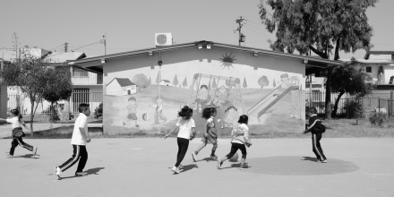 Students play in the schoolyard of the Jardin de Niños Xochimilli.