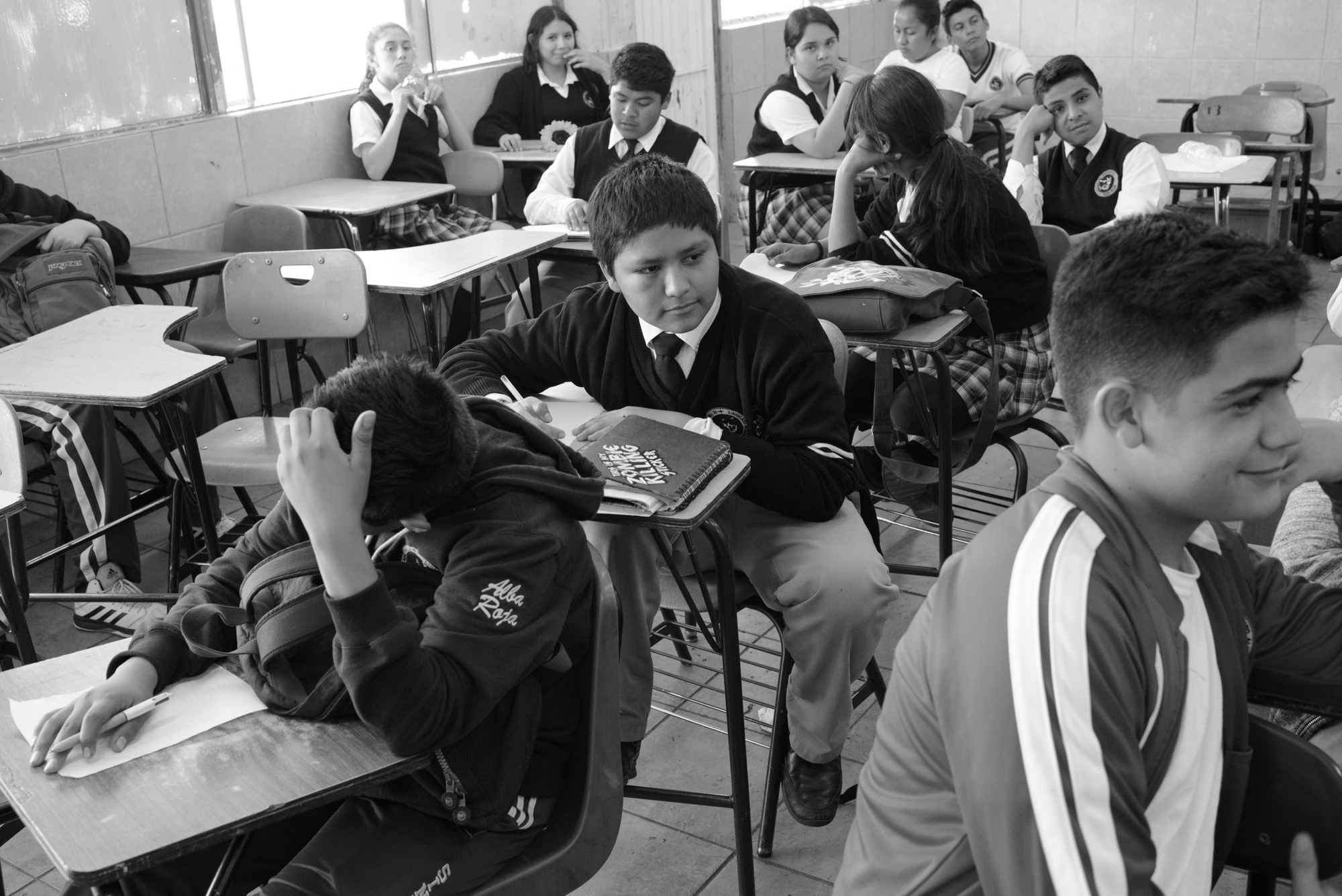 Alexander, 13, in Spanish class at Escuela Secundaria Sindicato Alba Roja.