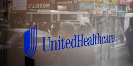 UnitedHealthcare signage is displayed outside of a store in the Queens borough of New York, U.S., on Monday, Jan. 14, 2013. The experiment to sell health insurance to consumers in retail stores by UnitedHealth Group Inc., the biggest U.S. medical insurer, is designed to help the company compete in anticipation of sweeping changes under the new health-care law. Photographer: Michael Nagle/Bloomberg via Getty Images