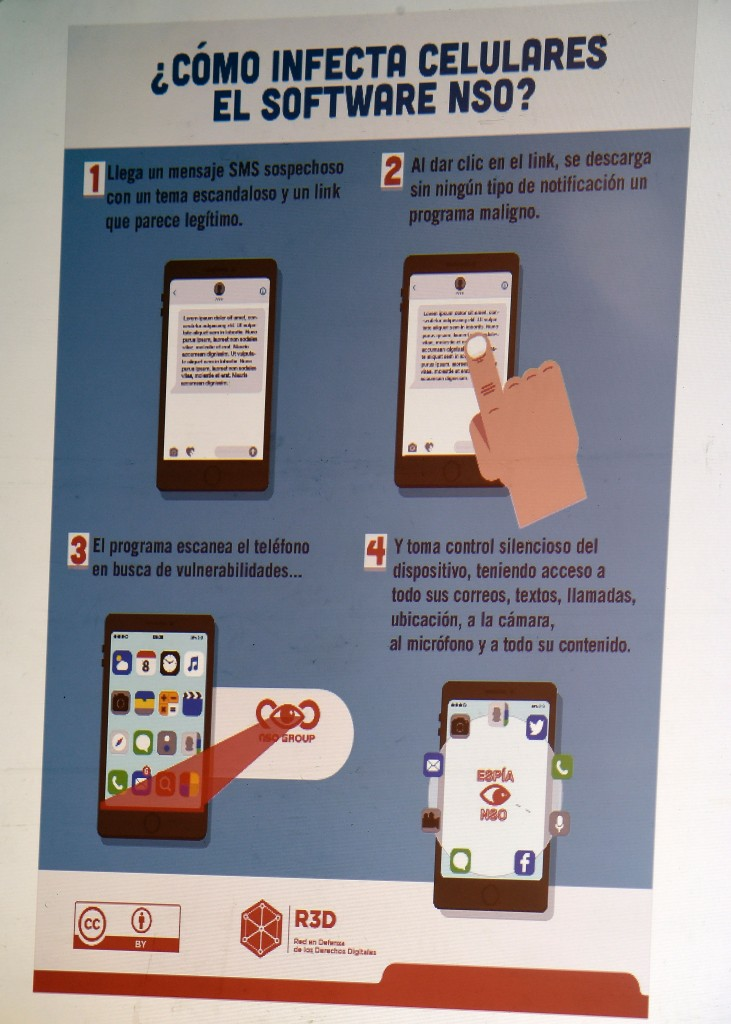 """The explanation on how an espionage tool infects mobile phones is seen during a journalists' press conference in Mexico City on June 19, 2017, on an article published by the New York Times: """"Using Texts as Lures, Government Spyware Targets Mexican Journalists and Their Families"""". / AFP PHOTO / ALFREDO ESTRELLA        (Photo credit should read ALFREDO ESTRELLA/AFP/Getty Images)"""