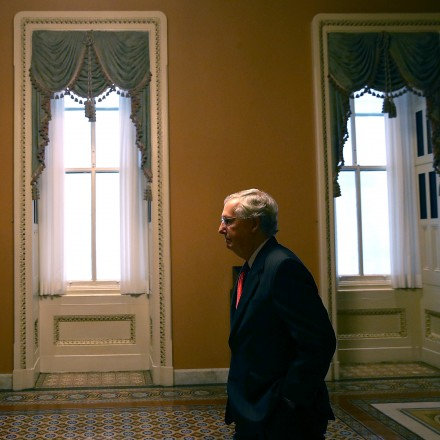 WASHINGTON, DC - JULY 26:  Senate Majority Leader Mitch McConnell (R-KY) walks to his office on July 26, 2017 in Washington, DC. The U.S. Senate will continue debate on the Better Care Reconciliation Act. (Photo by Justin Sullivan/Getty Images)