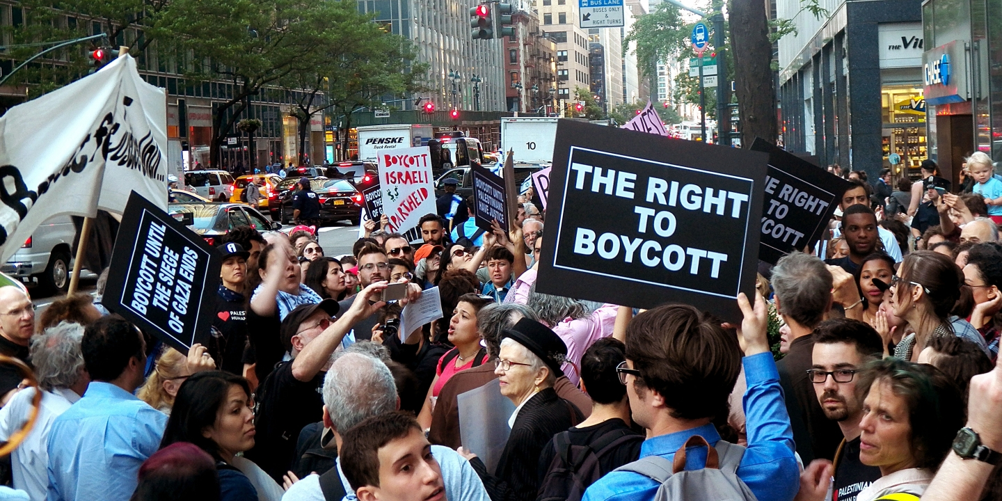 Protest Cuomo's Attack on Palestinian Rights.Protest outside Governor Andrew Cuomo's office in New York City-June 9th, 2016. The protest Organized by Adalah-NY: The New York Campaign for the Boycott of Israel; Jewish Voice for Peace-NY; and Jews Say No! around 300 people attending the protest (Photo by Mark Apollo/Pacific Press) *** Please Use Credit from Credit Field ***