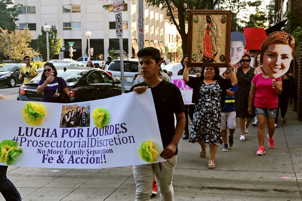 Protesters marched through the streets, demanding that Salazar-BautistaÕs deportation be stayed in Ann Arbor, MI on July 18, 2017. Photo: The Lucha Por Lourdes campaign.