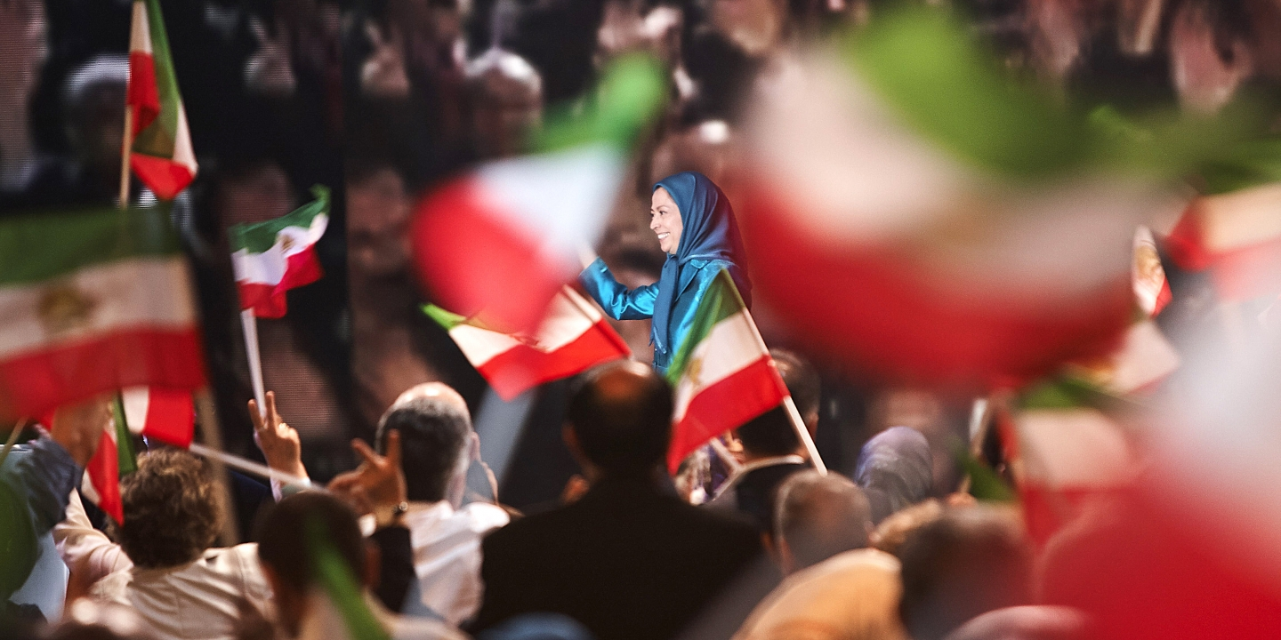 The great annual meeting of the Iranian resistance (NCRI) took place at the Villepinte exhibition center near Paris, France, on 1st July 2017. Mariam Radjavi (C) spoke in front of more than 100 000 people from the Iranian diaspora, coming from all over the world.French and international political leaders also made a speech to support her. (Photo by Siavosh Hosseini/NurPhoto via Getty Images)