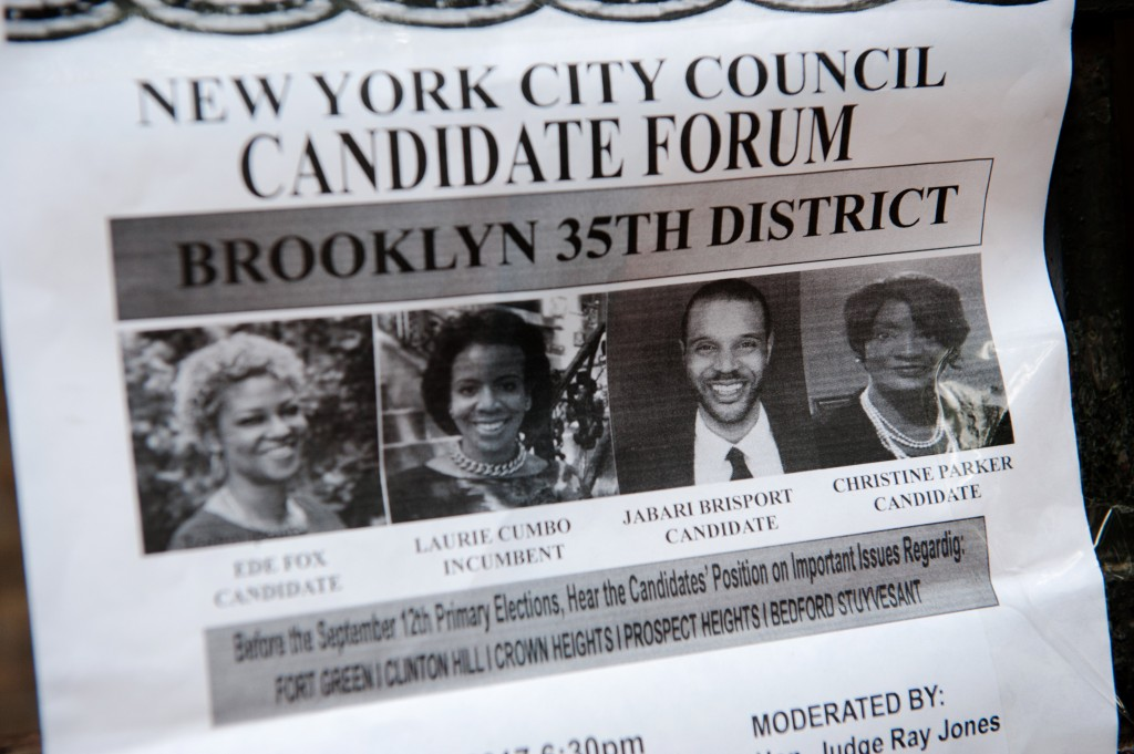 BROOKLYN, NY - JULY 26, 2017: A flyer for a New York City council candidate forum hangs outside the Epiphany Lutheran School in Brooklyn, NY on July 26, 2017. Brisport, a 29-year-old actor-turned-activist-turned-member of the Democratic Socialists of America, is currently running on the Green Party ticket against incumbent Democrat Laurie Cumbo for her city council seat for Brooklyn's 35th District.2017_07.25_THEINTERCEPT_JABARIBRISPORTBryan Thomas for The Intercept