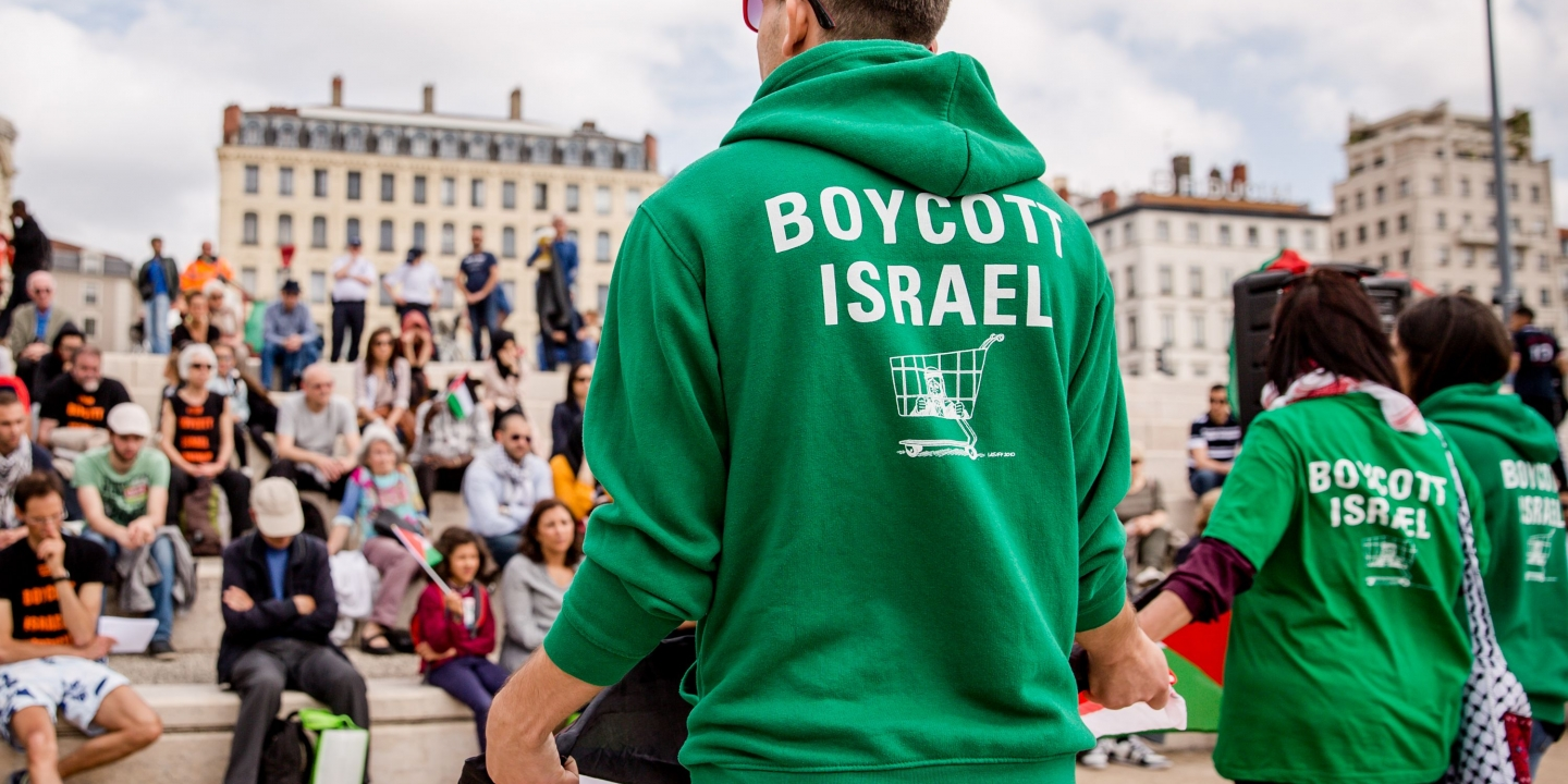 "As part of the national week organized by the group ""Just and Sustainable Peace between Israelis and Palestinians."" More than 150 people gathered in Lyon, on the banks of Rhones, to show their solidarity with the Palestinian people, for the defense of freedoms, the right to boycott Israeli products, the end of the occupation, and the requirement of sanctions, as long as Israel is violating international law. Lyon 4 June 2016//KONRADK_090003/Credit:KONRAD K./SIPA/1606050904 (Sipa via AP Images)"