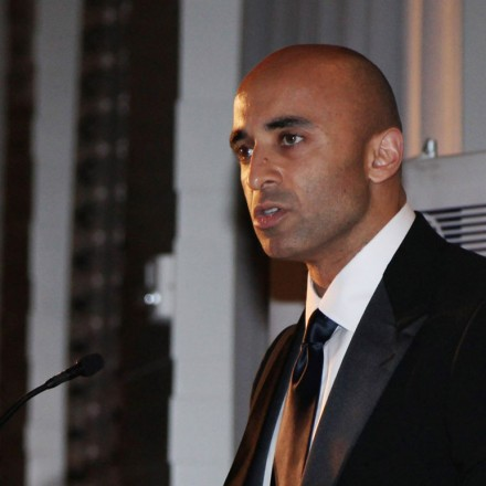 WASHINGTON, DC - OCTOBER 13:   Ambassador Yousef Al Otaiba speaks during the 2011 East West Institute Dinner at the United Arab Emirates Embassy on October 13, 2011 in Washington, DC.  (Photo by Johnny Nunez/WireImage)
